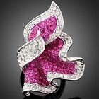 Fuschia Flower ARINNA Swarovski Crystal Cockatil Ring