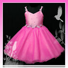 Hot Pink Pageant Flowers Girls Dress Age 2-3-4-5-6-7-8Y