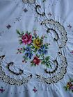 "Hand Embroidered & Crocheted Roses Floral 64x80"" Oblong Bedspread / Tablecloth"