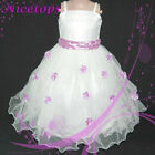 NT PU408 Purples White Christmas Party Girls Pageant Dress SIZE 2-3-4-5-6-7-8-9Y