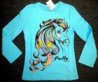 Girls HORSE / Pony Shirt~L/S~Blue~Multi Sparkle/Glitter Tee~TCP~NWT~Great Gift~