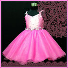HP875 Hot Pink Christmas Party Flower Girls Pageant Dresses SIZE 2-3-4-5-6-7-8Y