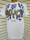 SEAN JOHN CO ENYCE NYC MENS WHITE ROYAL BRONZE PRINTED STUDDED HIPHOP T-SHIRT