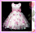 Kids Girl Pinks X'mas Wedding Party Flowers Girls Dresses SIZE 2-3-4-5-6-7-8-9Y