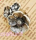 Antique Silver Flower with rhinestone Ring Retro Style N241