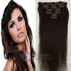2# _ 100% Human Hair Extensions - Clip in hair extension Dark Brown Hairpiece $$