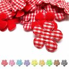 "(50-100pcs) x 7/8"" Padded Gingham Cotton Flower Appliques for Trim/Bows/Card"