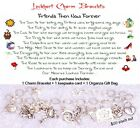 Friends Then Now Forever Themed Charm Bracelet with 2x4 Card Poem Organza Gift b