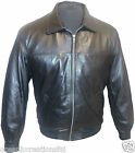 Mens Black MA2 Harington Pilot Flying Bomber Army Combat Leather Blouson Jacket