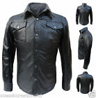 Long Sleeve Trucker Police Military Western Style Uniform Leather Shirt