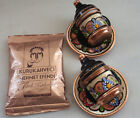 OTTOMAN COPPER MUG & SAUCER, PORCELAIN INSERT for Espresso Turkish coffee