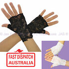 80s 70s 20s Party Fingerless Goth Gothic Punk Sheer Lace Stretch Cuff Gloves