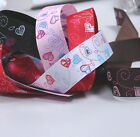 "3 Yards 1"" (~25mm) Heart print Grosgrain Ribbon H004 U PICK"
