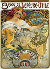 Mucha Food Biscuits Cookies Lefevre Utile  Vintage Poster Repo FREE S/H