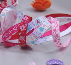 "5 Yards 3/8"" (~10mm) Heart print Grosgrain Ribbon  10 colors U PICK H013 H014"