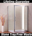 Walk In Pivot Shower Door Enclosure Glass Screen Side Panel Cubicle Stone Tray