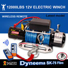 12V 12000LBS/5443KGS Wireless Synthetic Rope Electric Winch 4WD ATV BOAT TRUCK