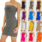 Seamless Ribbed Tiered Mini Tube Convertible Dress Skirt Stretch Fitted S M L