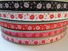 """3/8"""" 5 YARDS LIPS KISS WITH HEART SHAPE GROSGRAIN RIBBON - 5 COLORS AVAILABLE"""