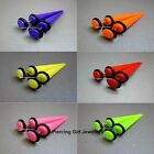 PAIR of Fake Cheater Tapers / Stretchers  / Ear Plugs Earrings in 6 Neon colours