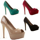 Ladies Womens Party Platform Peeptoe Court Shoes Pump Stiletto High Heels Size