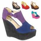 NEW WOMEN'S MULTI-COLOURED HIGH HEEL PEEP-TOE WEDGE/PLATFORM SANDALS IN UK 3-8