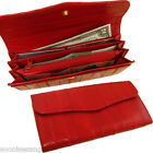 Genuine Eel Skin Leather Standard Button large Wallet Purse