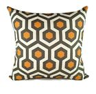 Orange and GrayPillow, Magna Cinnamon Modern Geometric Decorative Throw Pillow