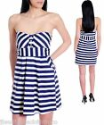 NEW Dress White Navy Stripe Max Rave Cotton Spandex Halter Above Knee Made in US