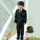 4 pcs set Boys Kids Baby Formal Suit Black Jacket Pants White Shirts Necktie