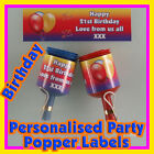Personalised BIRTHDAY  Party popper LABELS - Self adhesive - Pre-cut - x24 !!!