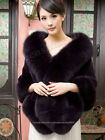 100% Real Genuine Rabbit Fur Huge Fox Collar Shawls Capes Wraps Stole outwear