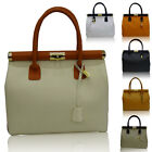 Genuine Italian Leather Gold lock handbag with tote satchel Made in Italy.