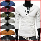 (DK12) THELEES Mens casual slim fit button point long sleeve tshirts 8 COLOR