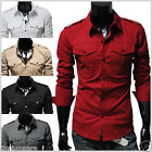 THELEES (N316) Mens Slim Fit Strap Big Front Pocket Shirts w/5 colors