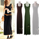 Women Casual Long Strander Vest Solid Maxi Dress Tank Sleeveless