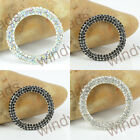 33mm Large Faceted Crystal Silver Tone Circle Connector Fashion Pendant Bead