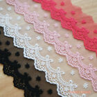 1 Yard : Embroidered Net Lace Trim Ribbon Bow & Eyelet 4 Colors DIY