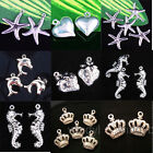 Wholesale Charm Silver Plated Loose Pendant Beads Jewelry Findings 20/50/100