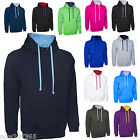 Mens Hoodie Sweatshirt Contrast Colours Size XS to 4XL