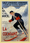Fashion Girl Ski Winter Sport Nice France French Vintage Poster Repro FREE SH