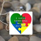 AUTISM AWARENESS LOVE GLASS TILE PENDANT NECKLACE KEYRING design 7