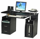 Black Beech Walnut Computer Desk Home Office PC Table and with Filing Cabinet