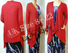 Long Sleeve Red Drapes Down Waterfall Cardigan  UK SZ 8 - 22 (RED)