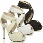 WOMENS LADIES WEDDING EVENING PROM HIGH HEEL PLATFORM SANDALS BRIDAL SHOES SIZE