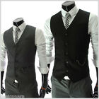 THELEES (RVE) Mens Casual Chain Zipper Pocket 5 Button Slim Waistcoat Vest