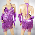 Hot Lady Cocktail Party Latin Ballroom Salsa Dance Sequin Fringe Club Dress 2051
