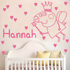 PEPPA PIG with personalised name Wall sticker DECAL kids BEDROOM K2