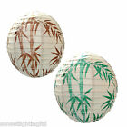 "6919 16"" White Bamboo Print Paper Lantern 2 Colours Available Pendant Shade"