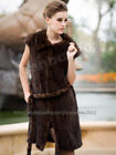 100% Real Knitted Mink Fur Long Vest Jacket Gilet Waistcoat Coat Fashion 5Colors